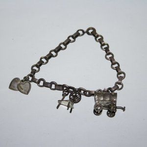 "Vintage silver charm bracelet 6.5"""